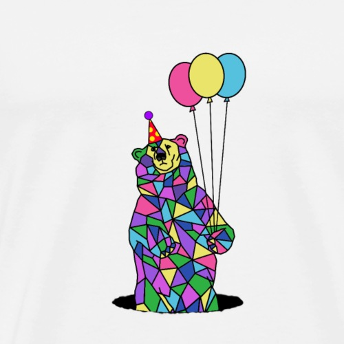 Birthday Party Bear with Balloons - Men's Premium T-Shirt