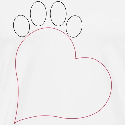 Herz und Pfote Katze Outlines - Männer Premium T-Shirt