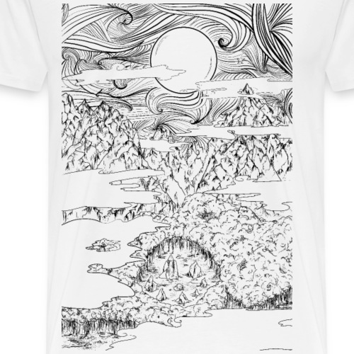 doodle montagna, disegno scena naturale notturna - Maglietta Premium da uomo