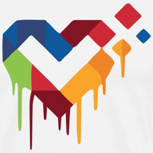 LiveForLife - Painted Heart | Logo (Farbig) - Männer Premium T-Shirt