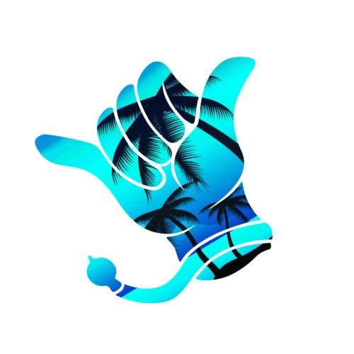 Kerwe Handschuh Palmen Blau - Männer Premium T-Shirt