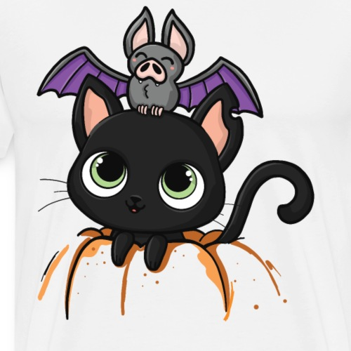 Katze Fledermaus Halloween Süß Geschenk - Männer Premium T-Shirt