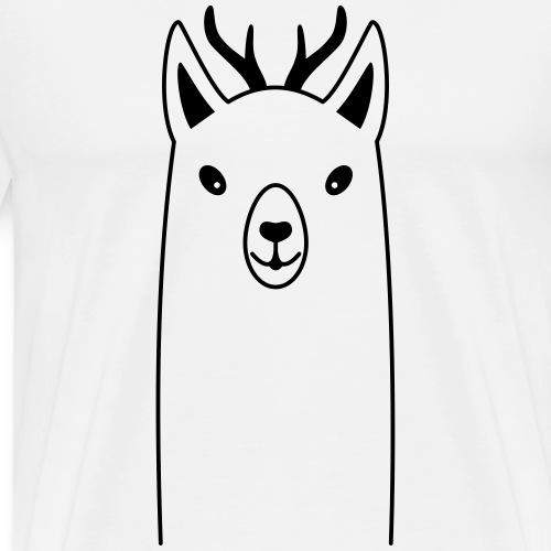 Lama mit Geweih wildes Lama Geschenk - Männer Premium T-Shirt