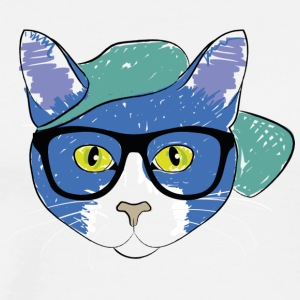 Blue cat with Cap - Men's Premium T-Shirt