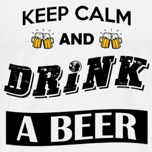 Keep calm and drink a beer (black font) - Men's Premium T-Shirt