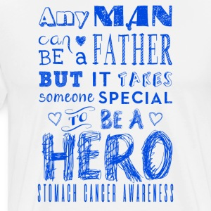 Maag Cancer Awareness! Vader is een held! - Mannen Premium T-shirt