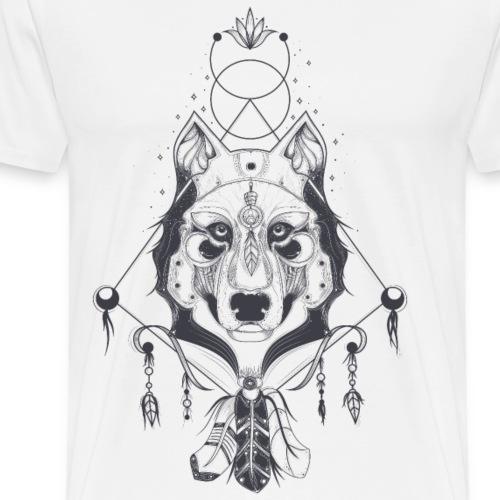 Hand Drawn Wolf Head - Men's Premium T-Shirt