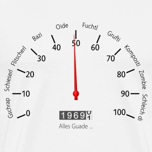 Frauen Geburtstags-Tacho 1969 im Wiener Dialekt - Männer Premium T-Shirt