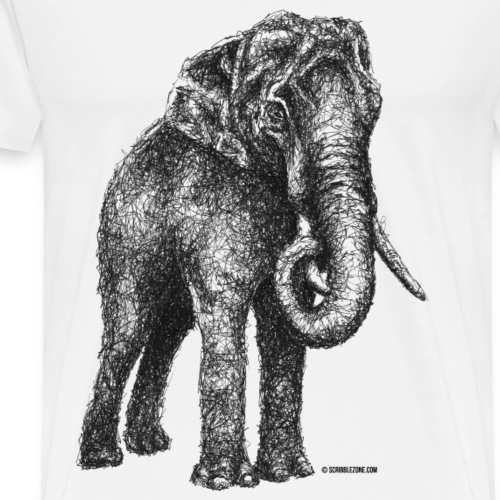 Scribbled Elephant - Männer Premium T-Shirt
