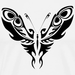 Svart Tribal Tattoo Butterfly Silhouette - Premium T-skjorte for menn