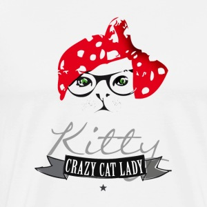 cat hipster kitty crazy cat lady red headscarf br - Men's Premium T-Shirt