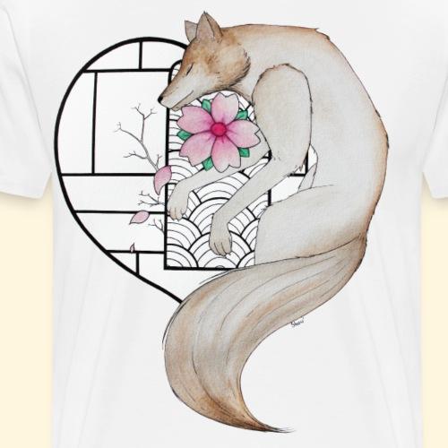 Le loup amoureux - Vitrail japonais - T-shirt Premium Homme