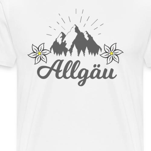 Allgäu Schriftzug mit Bergen und Edelweiss - Männer Premium T-Shirt