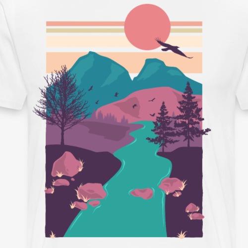 Bunte Natur scenery scene berge Fluss Geschenk - Männer Premium T-Shirt