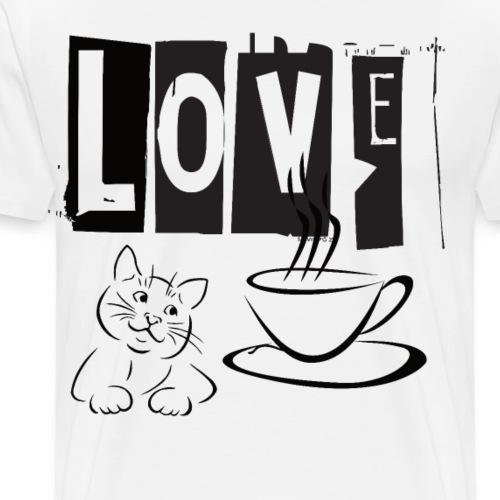 Love Katze Kaffee - Männer Premium T-Shirt