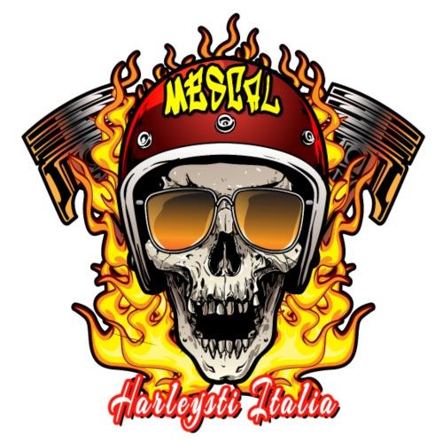 Teschio in fiamme per motociclisti by Mescal - Maglietta Premium da uomo