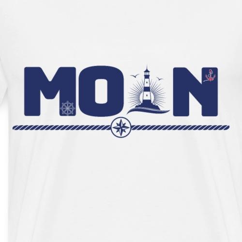 Moin Gruß mit Leuchtturm Anker Steuerrad - Männer Premium T-Shirt