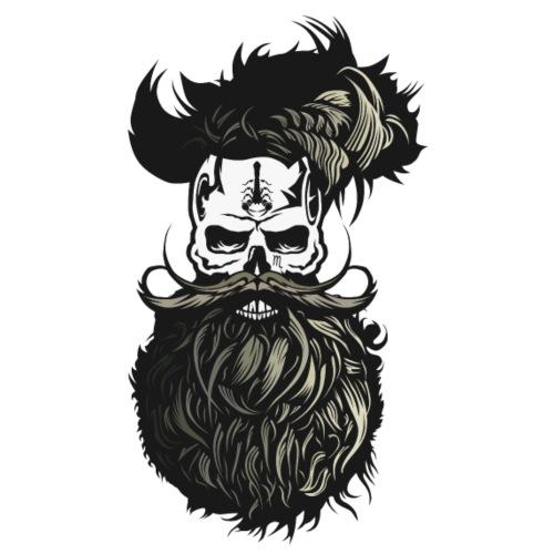 tete de mort barbu crane barbe moustachu moustache - T-shirt Premium Homme