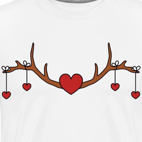 Geweih Dekoration Trachten Herzen - Männer Premium T-Shirt