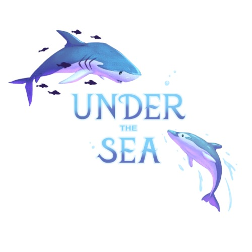 Under the Sea - Shark and Dolphin - Men's Premium T-Shirt