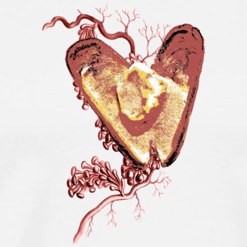 Golden Shell Heart / Cuore Conchiglia con Oro - Maglietta Premium da uomo