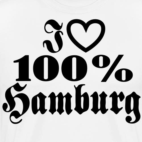 I love 100% Hamburg 1c / Herz - Männer Premium T-Shirt