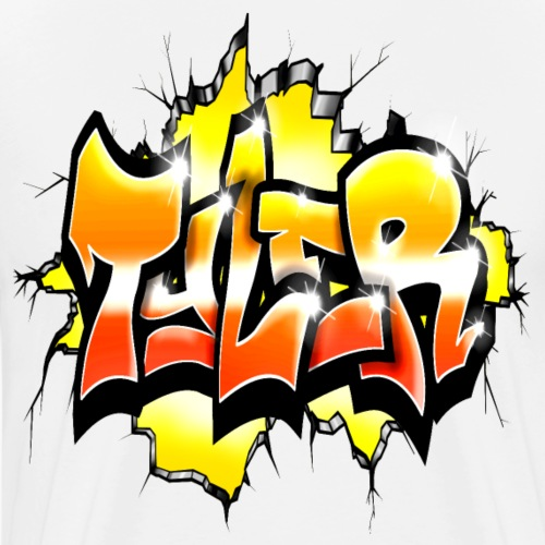Graffiti Tayler Red Orange and Yellow Style - T-shirt Premium Homme