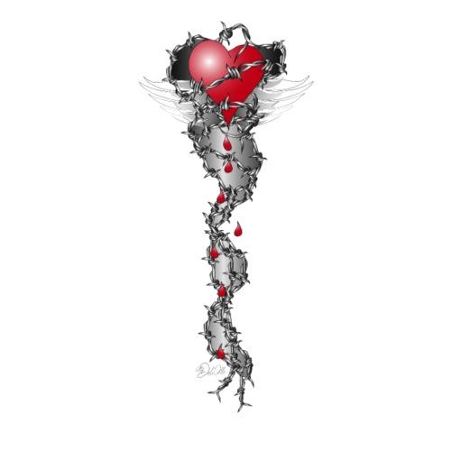 Barbwired Heart 2 - Herz in Stacheldraht - Männer Premium T-Shirt
