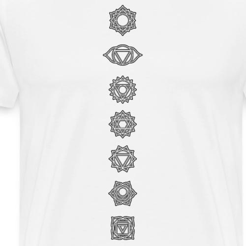 7 Chakras Aligned Energy Centres Black - Men's Premium T-Shirt