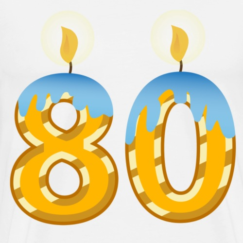 80th Birthday candles for the party man or woman - Men's Premium T-Shirt