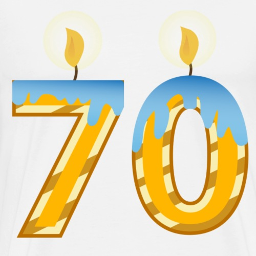 70th Birthday with Lite candles design - Men's Premium T-Shirt
