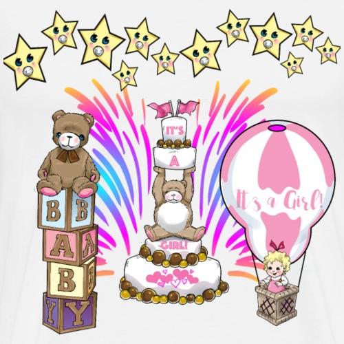 Baby Shower Baby Girl balloon and teddy with stars - Men's Premium T-Shirt
