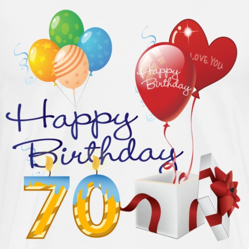 70th Happy Birthday balloons candles and gift - Men's Premium T-Shirt