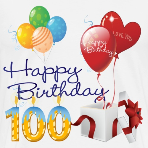 100th Happy Birthday candles balloons and present - Men's Premium T-Shirt