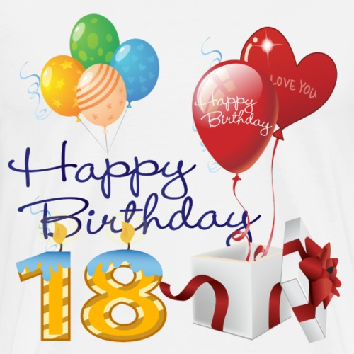 18th Happy Birthday candles balloons and present - Men's Premium T-Shirt