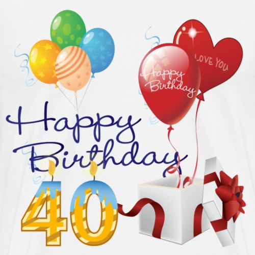 40th Happy Birthday balloons candle present - Men's Premium T-Shirt