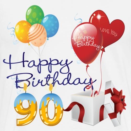 90th Happy Birthday balloons candles & Gift - Men's Premium T-Shirt
