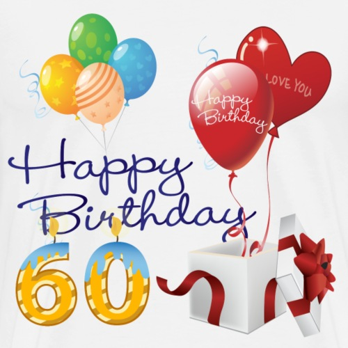 60th Happy Birthday balloons candles and gifts - Men's Premium T-Shirt
