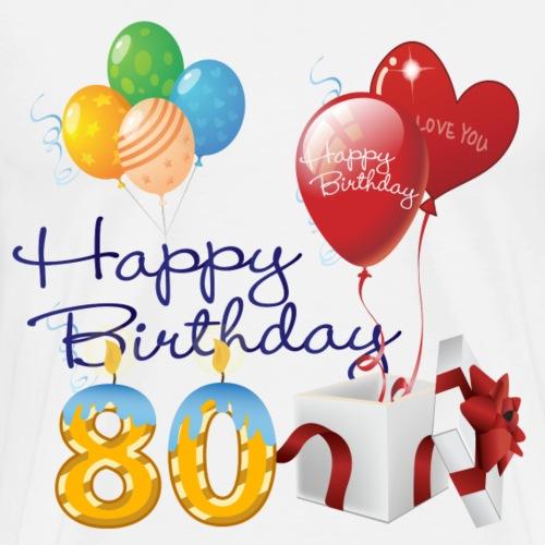 80th Happy Birthday balloons present & candles - Men's Premium T-Shirt