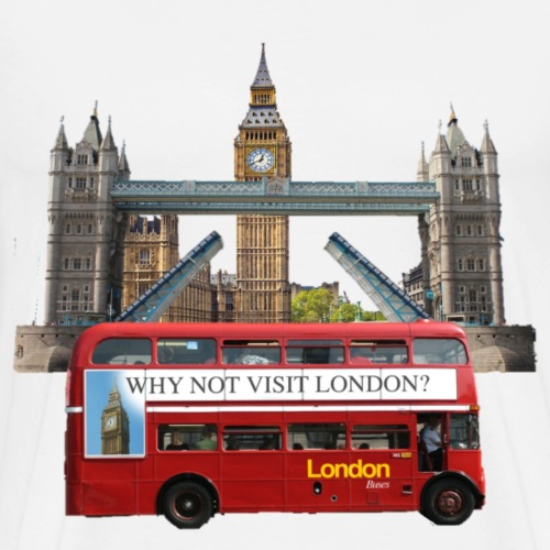 London England Tower Bridge big ben London bus - Men's Premium T-Shirt