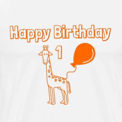 1 Jahre Geburtstag Giraffe Happy Birthday - Männer Premium T-Shirt