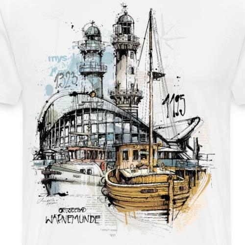 Warnemünde Teepott Szene - Männer Premium T-Shirt