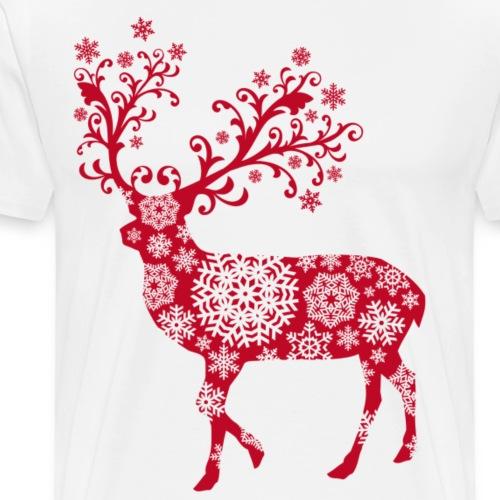 Hirsch Schneeflocke - Männer Premium T-Shirt
