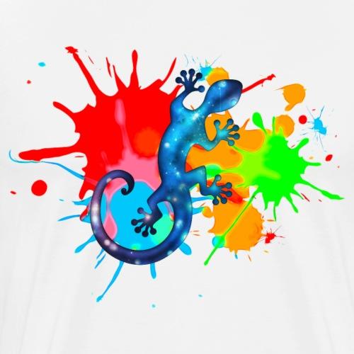 Space Gecko, Farbe, Bunt, Spritzer, surfen, Farben - Männer Premium T-Shirt