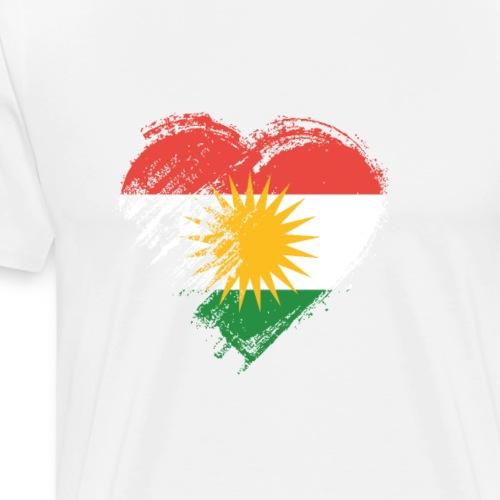 Grungy I Love Kurdistan Heart Flag - Men's Premium T-Shirt