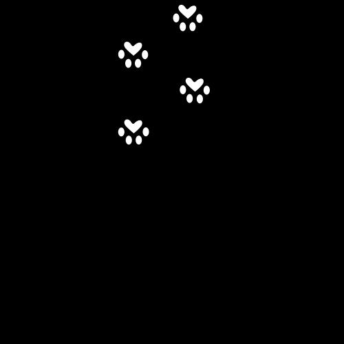 Katze mit Pfotenabdrücken