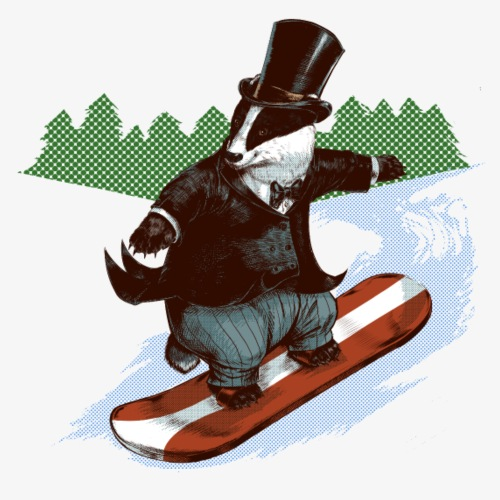 Snowboader Badger - Men's Premium T-Shirt