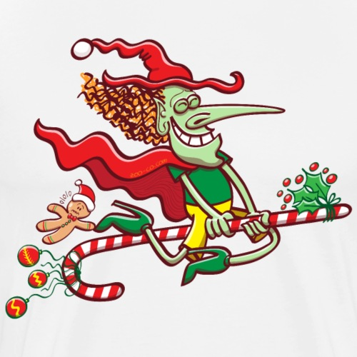Halloween witch flying on a Christmas candy cane - Men's Premium T-Shirt