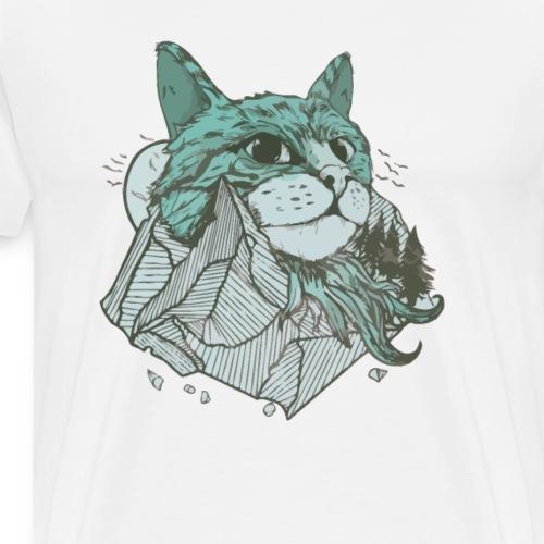 Katzen Berg mit Katze Kopf und Felsen - Männer Premium T-Shirt