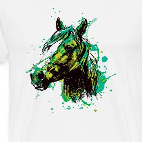 Pferd Pferde Kopf Mähne Reiter Liebe Splash - Männer Premium T-Shirt